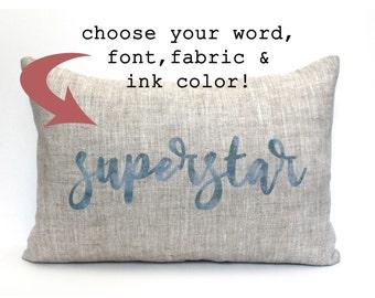 custom word pillow; nursery decor, kids room pillow, great gift for christmas, wedding, birthday, graduates, teachers, grandparents