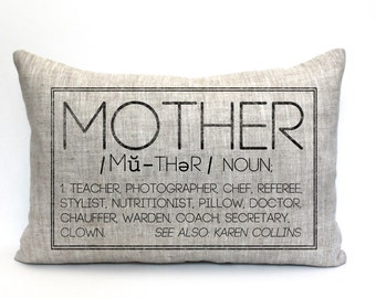 """mother's day gift, mothers day gift, mom pillow, gift for mom, grandparent gift, new parents pillow, valentine gift - """"The Mother"""""""