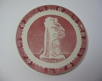 Old English Staffordshire Ware Old Faithful Souvenir Plate