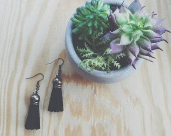 Black Bronze Tassel Earrings
