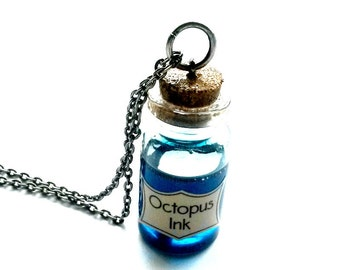 Octopus Ink Potion Necklace Steampunk Vial Handmade Gift