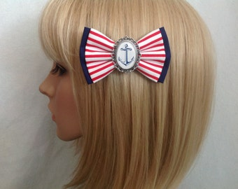 Anchor hair bow clip rockabilly psychobilly kawaii pin up pinup girl punk sailor nautical red blue white stripe striped retro