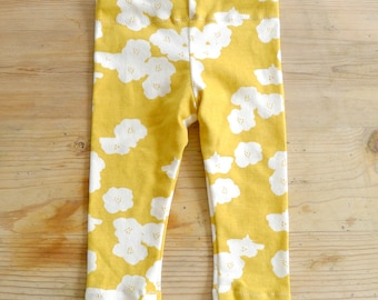 READY TO SHIP, Mustard Yellow Toddler Floral Leggings, Organgic Cotton, Stretchy, Girl, Toddler, Flowers, Pants, Gift, 18 months