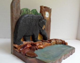 Cabin decor - country home decor - rustic decor - bear clock - wooden bear - carved bear  -  desktop clock - gift for hunter -gift for men