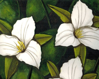 Trilliums Flower Watercolor Print, White Petals, Spring Foliage, Perfect for Mother's Day, girl's bedroom or living room decoration