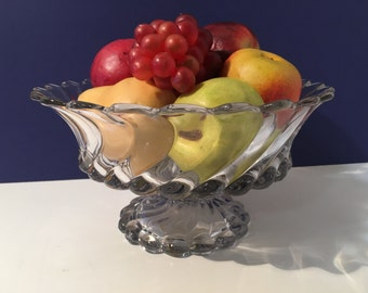 """Vintage Clear Swirl Glass Bowl """"Retro Every Day Centerpiece Fruit Bowl 1940s"""
