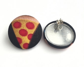 Slice of pepperoni pizza fabric button earrings