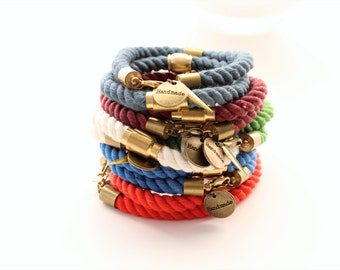 Hand Dyed Cotton Brass Stackable Cord Bracelets