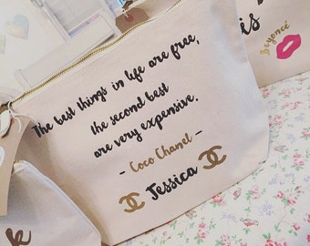 Personalised Coco Chanel quote Make-up bag *any quote available*