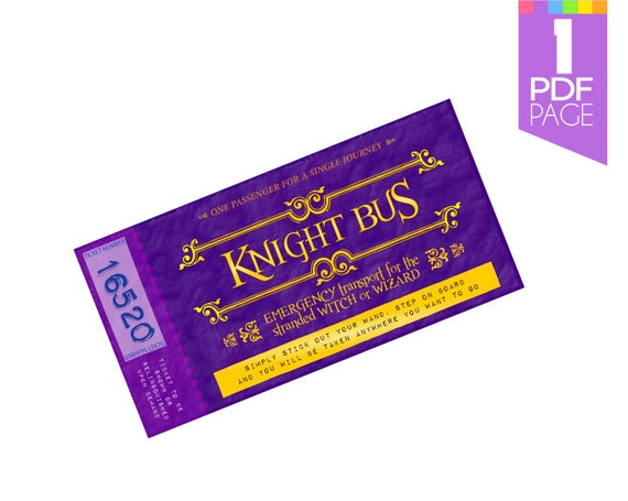 Knight Bus Ticket Template Harry