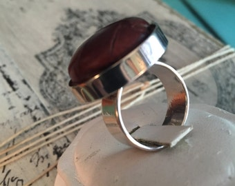 Ralph Lauren/ Leather Button Ring/ Silver Ring/ Brown Leather