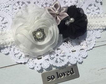 White Black Baby headband Vintage Wedding head band