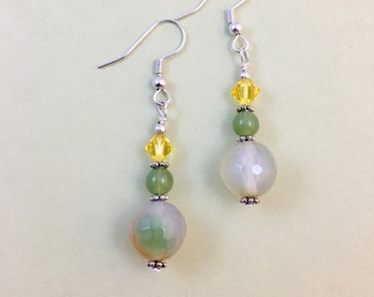 Natural Agate Jade Crystal Beaded Drop Earrings
