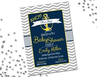 Nautical Baby Shower Invitation - Ahoy Its A Boy - Navy and Yellow - Chevron Stripes - Printable