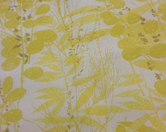 Mid Century Modern Yellow Botanical Flower Pattern Wallpaper