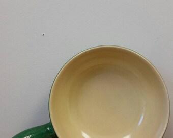 Vintage Landert Swedish Fondue Pottery Pan Green and Yellow