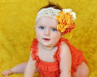 burnt orange  baby girl outfit,autumn baby romper,petti romper,baby headband,first birthday photo outfit,headband lace petti romper