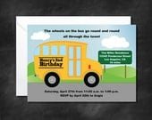 Wheels on the Bus Party Invitation, Wheels on the Bus Ap, Kid Birthday Party, School Bus Party