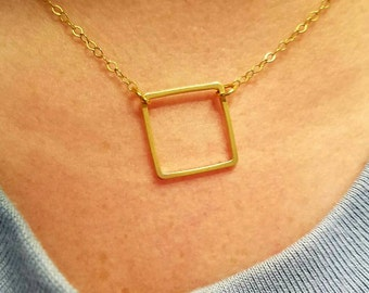 Small square necklace. gold filled square necklace only. Minimalist jewelry. Simple, everyday wear necklace.