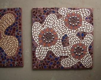 "Ready to ship, wall mosaic, ""Joyful!"", porcelain tile and glass on wood, interior mosaic, retro '70's pop art, 12"" x 12"", save on set of 2"