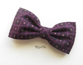 Plum Mosaic Tile Bow Tie Plum Pretied Bow Tie Plum Self Tie Bow Tie