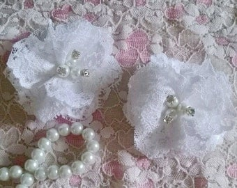 2 Lace Flowers With Rhinestone Pearl (2-3/4 inches) In White MY-447-03 Ready To Ship