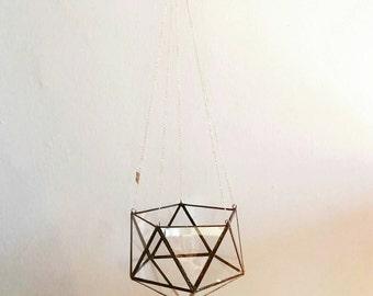 Hang glass Geometric Terrarium /icosahedron / wedding gift / plant pot hanger / hanging planter