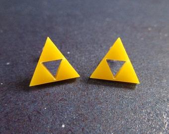 Cute Acrylic Triforce Legend of Zelda Cosplay Yellow Stud Post Earrings