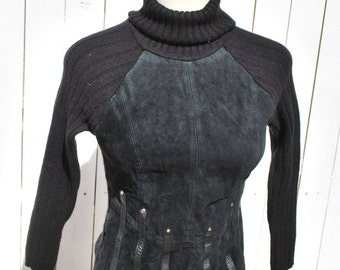 Black Suede Front Turtleneck Sweater