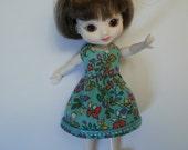 Amelia Thimble dress in turquoise cotton lawn print