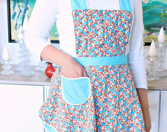 Vintage Turquoise Red Floral Reversible Apron with Bib