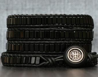 wrap bracelet- midnight jet black tile beads on black leather- boho gypsy bohemian gothic jewelry