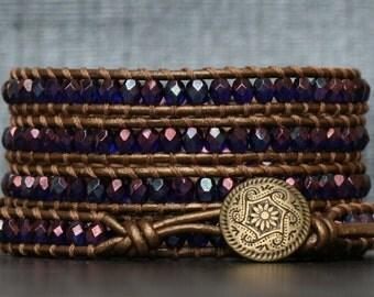 wrap bracelet- cobalt vega on bronze leather- beaded leather 5 wrap bracelet