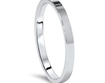 14Kt White Gold Flat Wedding Band 2mm