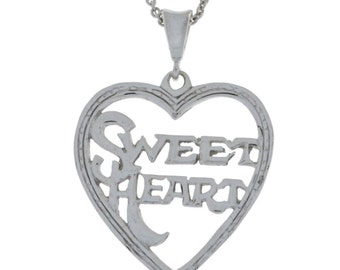 Sweet Heart Necklace Pendant .925 Sterling Silver