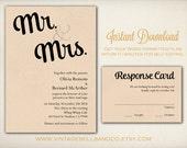 DIY Printable Wedding Invitation Template, Easy DIY Printable, Microsoft Word Invitation, Instant Download, Mr. and Mrs. Script (ID12)