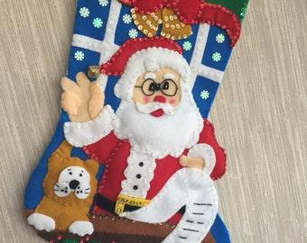 Santa's List Completed Handmade Felt Christmas Stocking from Design Works Kit