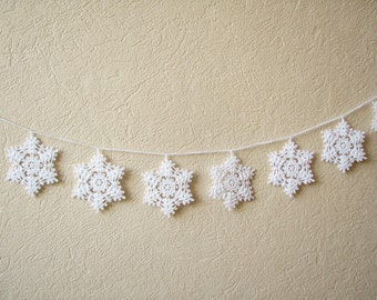 Snowflake garland Christmas home decor Crochet Xmas ornaments Winter wedding decors