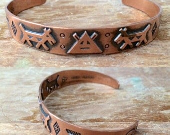 vintage Bell Trading Post Native American copper cuff bracelet