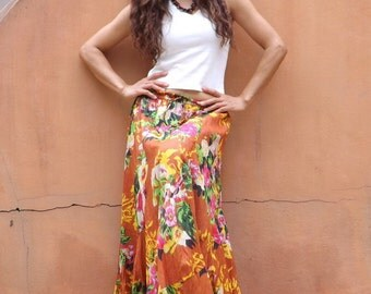 Maxi Skirt ....Long Skirt ....Full Length Skirt...Soft and Floaty..Floral Printed