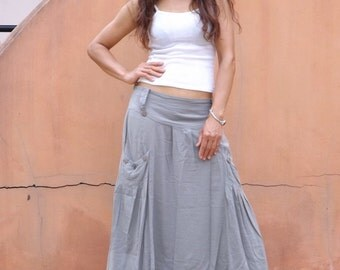 Long Skirt ..Full Length Skirt...Maxi Skirt...Color Light Grey with a hint of green