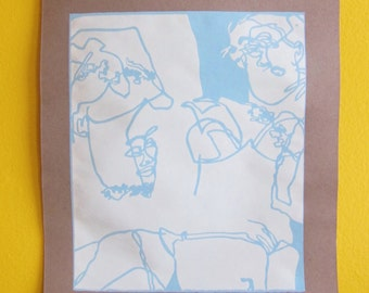 Ladies in Light Blue Screenprint