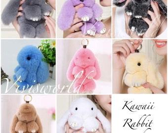 Kawaii furry rabbit keychain