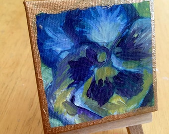 "Original Mini Painting in Acrylic on Canvas with Easel - Purple Pansy - 2.75"" x 2.75"""