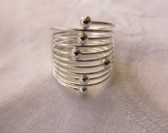 Sterling Stack Ring, Silver Beaded Stack Ring, Moving Beads, 10 Row Multiband Ring,  Size 7