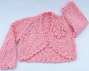 Baby bolero, Baby sweater. Hand knitted pink baby cardigan to fit 3 to 6 months baby.   Baby clothes, baby gift, baby shower. Baby girl.