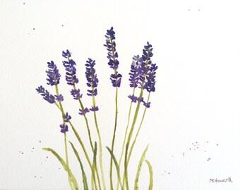 SALE Lavender watercolour painting lavender art lavender decor lavender artwork blue flowers art lavender gift French lavender 12 X 9