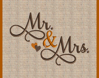 Mr and Mrs Embroidery Design  Mr and Mrs  Wedding Embroidery Design Fall Embroidery Design