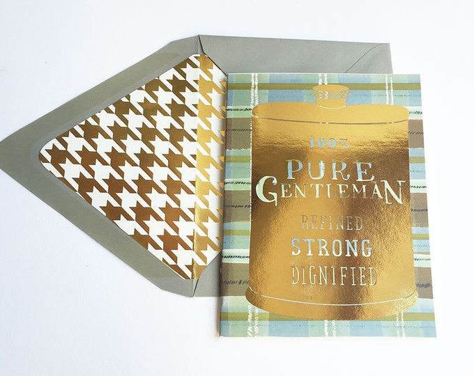 100% Pure Gentleman Gold Foil Flask Card