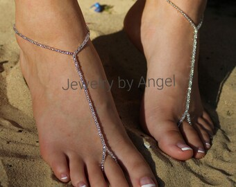 Crystal Seed Bead Bridal Barefoot Sandal Crystal Wedding Foot Jewelry
